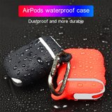 AirPods 1/2 hoesje siliconen waterproof series - soft case - oranje + wit_