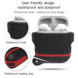 AirPods 1/2 hoesje siliconen waterproof series - soft case - wit + rood_