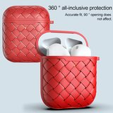 AirPods 1/2 hoesje PU Wave Series - soft case - rood_