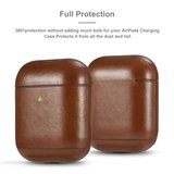 AirPods 1/2 hoesje Genuine Leather Series - hard case - bruin_