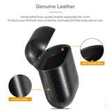 AirPods 1/2 hoesje Genuine Leather Series - hard case - zwart_