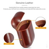 AirPods 1/2 hoesje Genuine Leather Series - hard case - donker bruin_