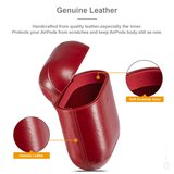AirPods 1/2 hoesje Genuine Leather Series - hard case - rood_
