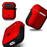 AirPods 1/2 hoesje soft grip - hard case - rood - Schokbestendig_