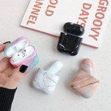 AirPods 1/2 hoesje Marble series - hard case - Marble roze - Schokbestendig_