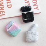 AirPods 1/2 hoesje Marble series - hard case - Marble wit - Schokbestendig_