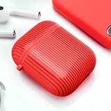 AirPods 1/2 hoesje Stripe series - Hard case - Rood - Met bevestigingsclip_