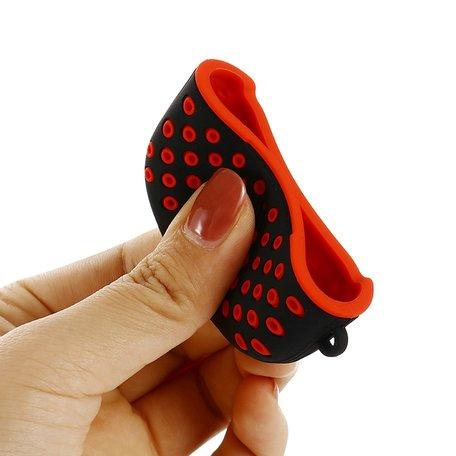 AirPods Pro siliconen hoesje Holow series - Met bevestigingsclip - Zwart + rood