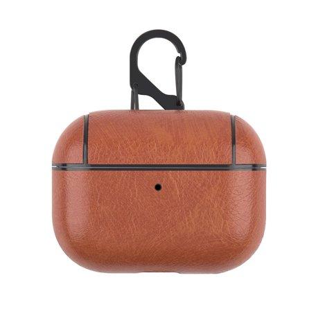 AirPods Pro lederen hoesje Pro Leather series - Met bevestigingsclip - bruin