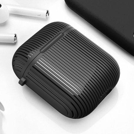 AirPods 1/2 hoesje Stripe series - Hard case - Zwart - Met bevestigingsclip
