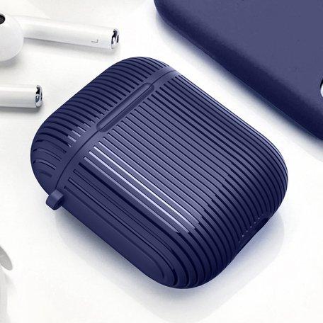 AirPods 1/2 hoesje Stripe series - Hard case - Blauw - Met bevestigingsclip