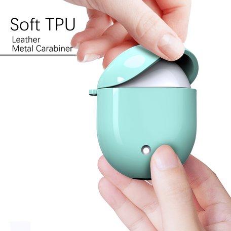 Google Pixel Buds 2 TPU siliconen hoesje - egg shock series - Met bevestigingsclip - groen