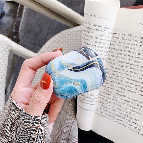AirPods Pro hoesje Marble series - hard case - Marble blauw - Schokbestendig