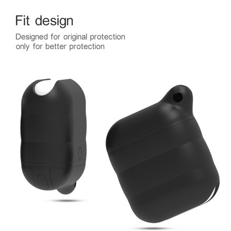 AirPods 1/2 hoesje siliconen waterproof series - soft case - zwart + wit