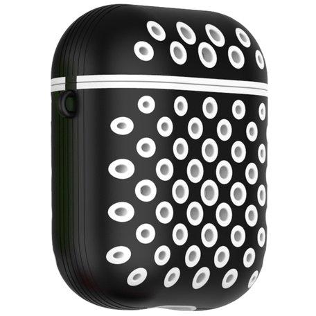 AirPods 1/2 hoesje siliconen holow Series - hard case - zwart / wit - UV bescherming