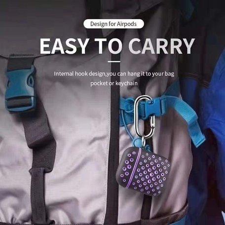 AirPods 1/2 hoesje siliconen holow Series - hard case - zwart / blauw - UV bescherming