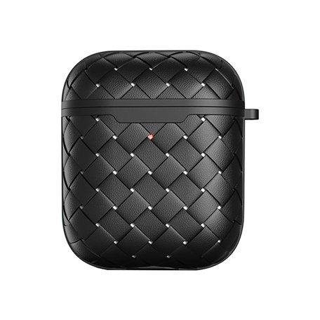 AirPods 1/2 hoesje PU Wave Series - soft case - zwart