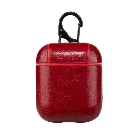 AirPods 1/2 hoesje Litchi PU Series - hard case - Rood