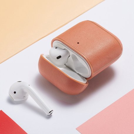 AirPods 1/2 hoesje Genuine Leather Series - hard case - roze