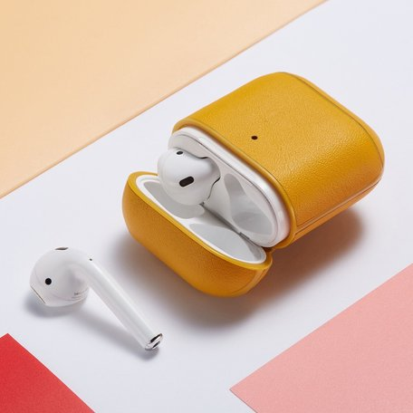AirPods 1/2 hoesje Genuine Leather Series - hard case - geel