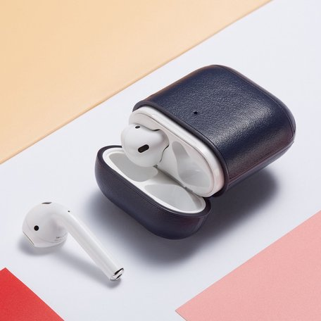 AirPods 1/2 hoesje Genuine Leather Series - hard case - donker blauw