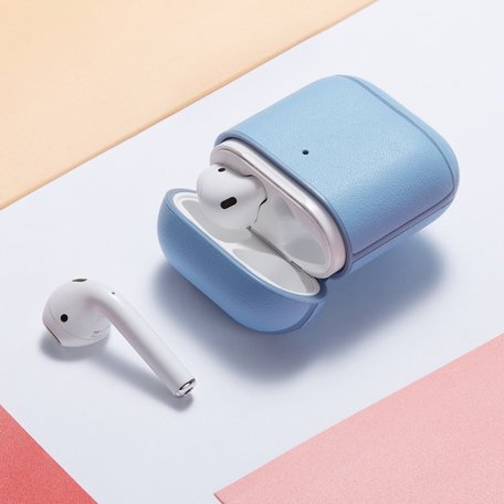 AirPods 1/2 hoesje Genuine Leather Series - hard case - licht blauw