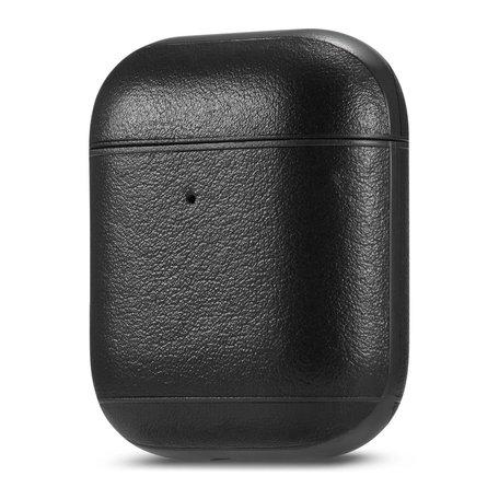 AirPods 1/2 hoesje Genuine Leather Series - hard case - zwart