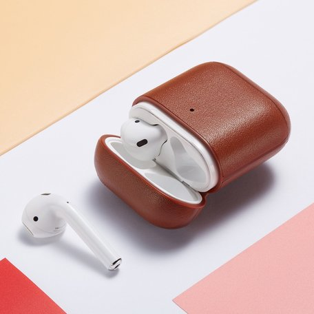 AirPods 1/2 hoesje Genuine Leather Series - hard case - licht bruin