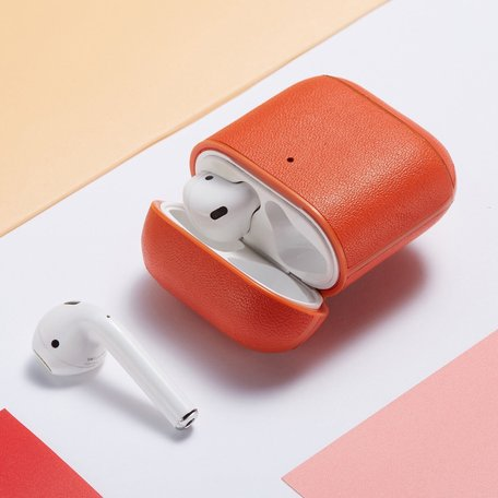 AirPods 1/2 hoesje Genuine Leather Series - hard case - oranje