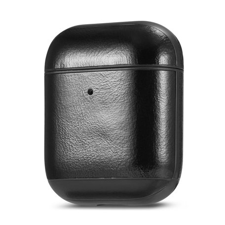 AirPods 1/2 hoesje Genuine Leather Series - hard case - zwart