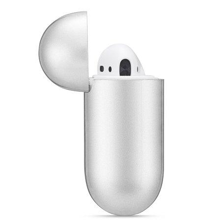 AirPods 1/2 hoesje Metallic Series - soft case - zilver - UV bescherming