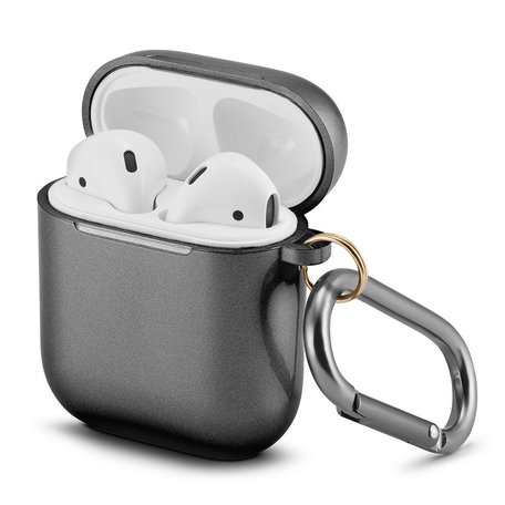 AirPods 1/2 hoesje Metallic Series - soft case - zwart - UV bescherming