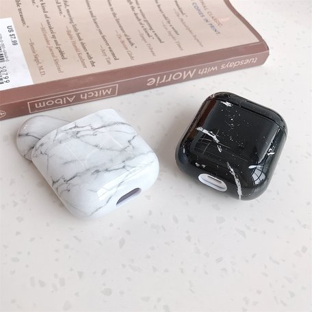 AirPods 1/2 hoesje Marble series - hard case - Marble wit - Schokbestendig
