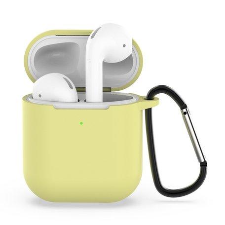 AirPods siliconen hoesje voor AirPods 1/2 - Geel + handige clip