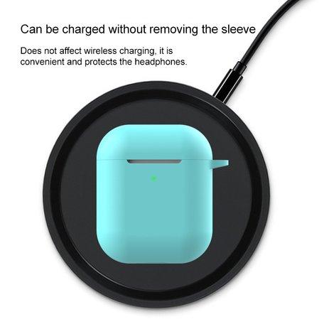 AirPods siliconen hoesje voor AirPods 1/2 - licht blauw + handige clip