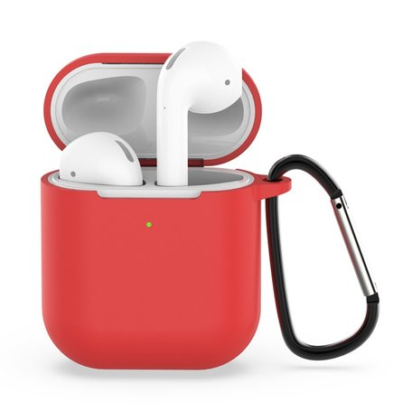 AirPods siliconen hoesje voor AirPods 1/2 - Rood + handige clip