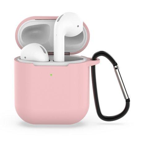 AirPods siliconen hoesje voor AirPods 1/2 - Licht roze + handige clip