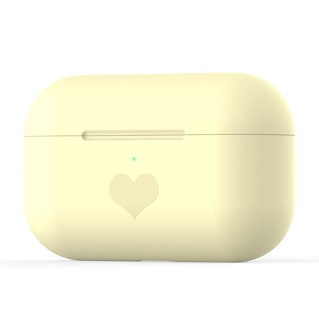 AirPods Pro met hartje - Siliconen hoesje - Geel