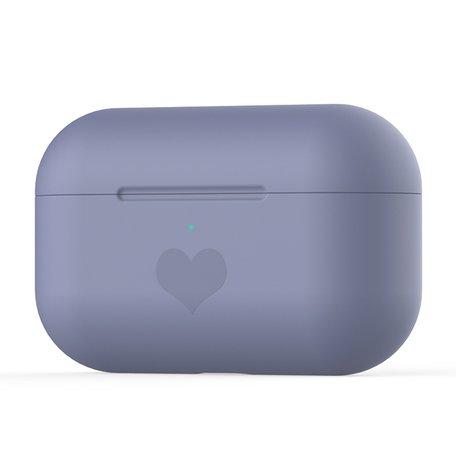 AirPods Pro met hartje - Siliconen hoesje - Paars