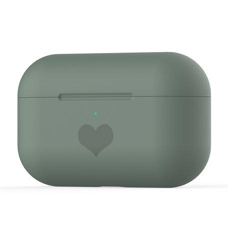 AirPods Pro met hartje - Siliconen hoesje - Donkergroen