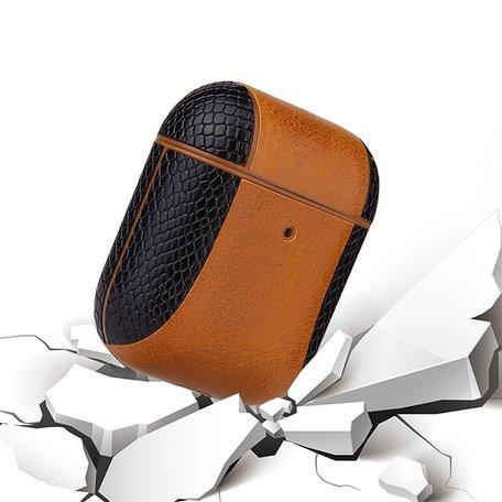 AirPods 1/2 hoesje PU Leer Flip-over - Zwart /bruin