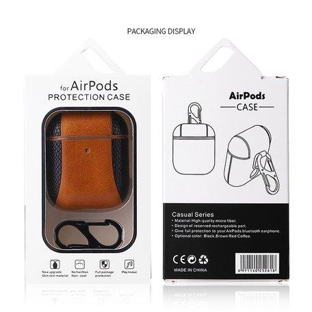 AirPods 1/2 hoesje PU Leer Flip-over - Bruin/zwart