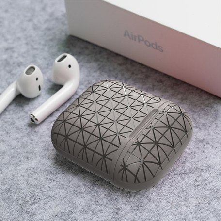 AirPods 1/2 hoesje triangle series - soft case - grijs