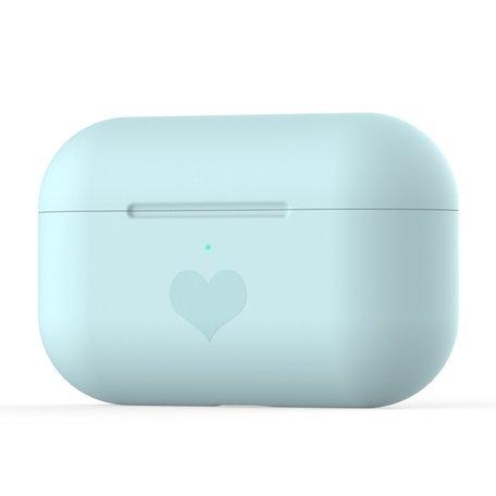 AirPods Pro met hartje - Siliconen hoesje - Blauw