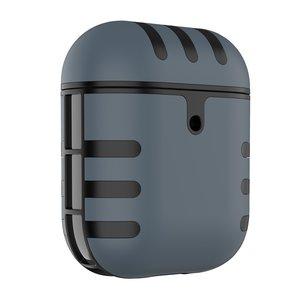 AirPods 1/2 hoesje siliconen + hard plastic Cat series - grijs