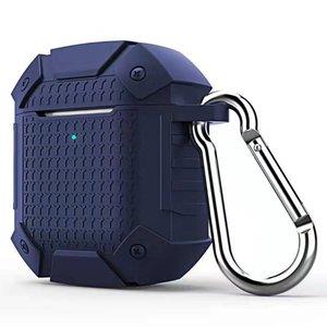 AirPods 1/2 hoesje schokbestendige harnas - soft case - donkerblauw