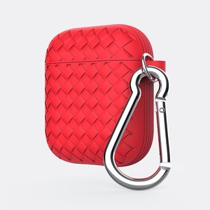 AirPods 1/2 hoesje siliconen Braided Series - soft case - rood
