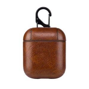 AirPods 1/2 hoesje Litchi PU Series - hard case - donker bruin