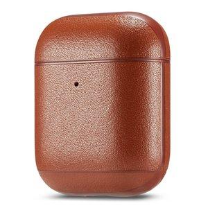 AirPods 1/2 hoesje Genuine Leather Series - hard case - licht bruin