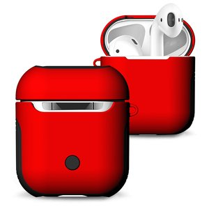 AirPods 1/2 hoesje soft grip - hard case - rood - Schokbestendig